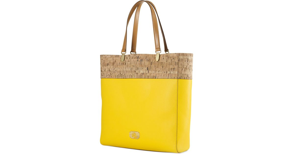 0d69cce4be Lauren by Ralph Lauren - Yellow Hilford Cork Pattern Tote - Lyst
