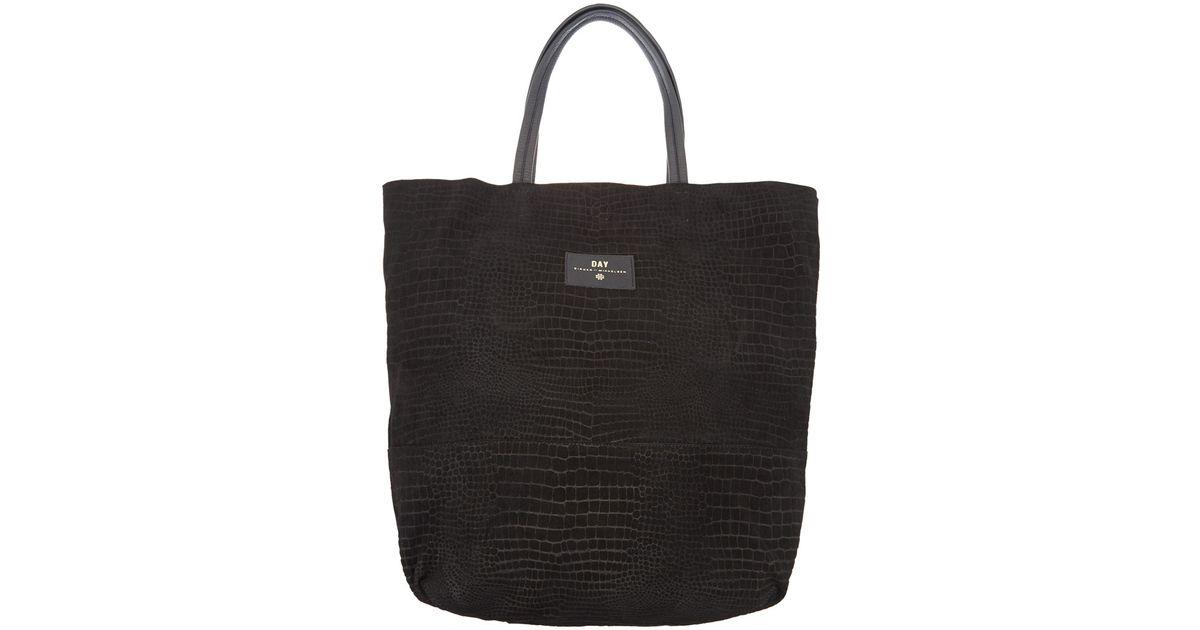 Day Birger et Mikkelsen Black Reptile Embossed Suede Bag in Black - Lyst 181d96dcc
