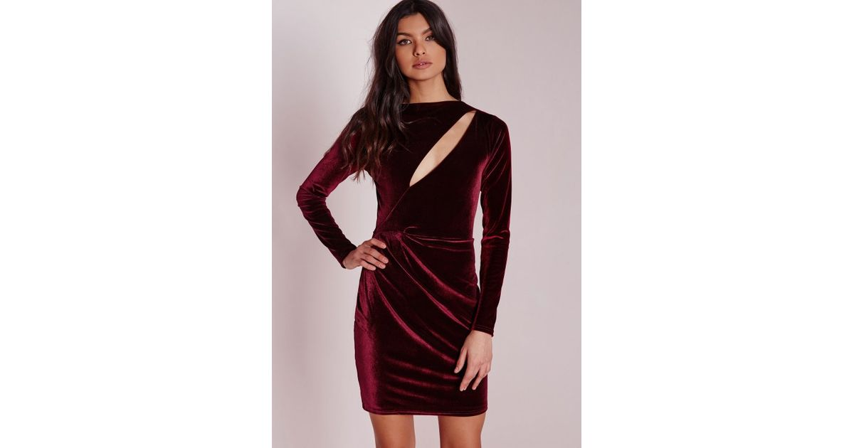 Lyst - Missguided Velvet Long Sleeve Bodycon Dress Burgundy in Purple 765de8f36