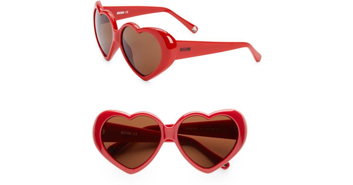 9a5d3d2e5b7 Lyst - Moschino Retro Heart Sunglasses in Red