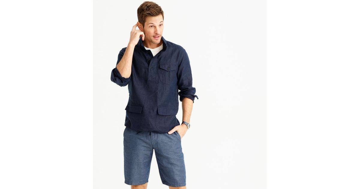 Irish linen naval popover shirt in blue for men lyst for Irish linen dress shirts