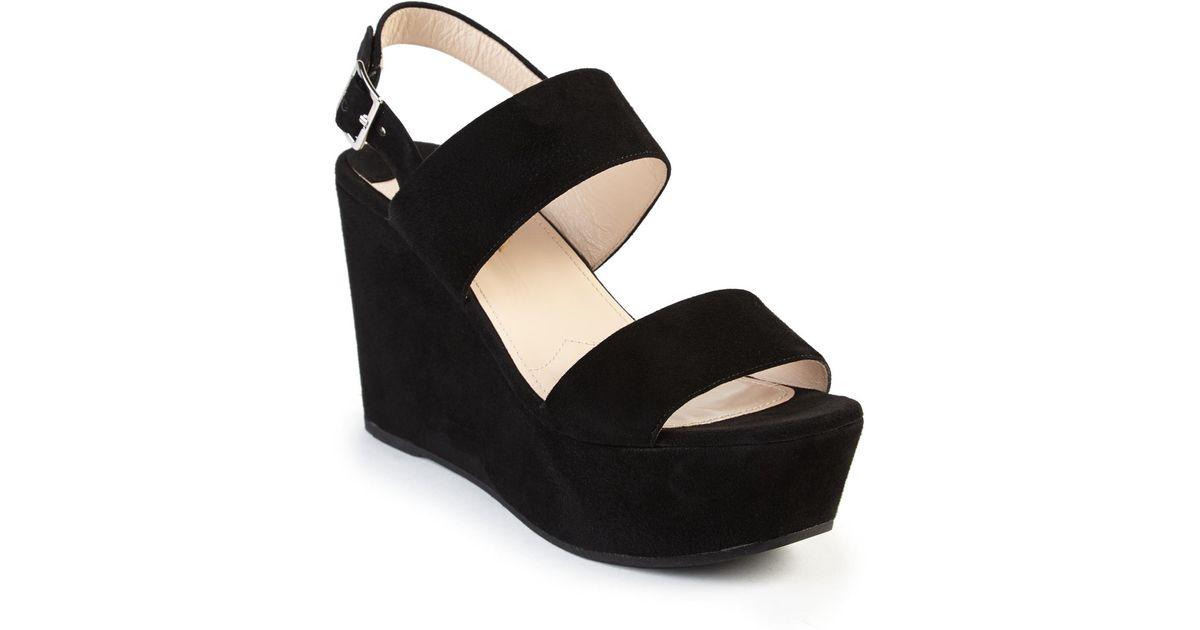 1dd94e682df Lyst - Prada Suede Platform Wedge Sandals in Black