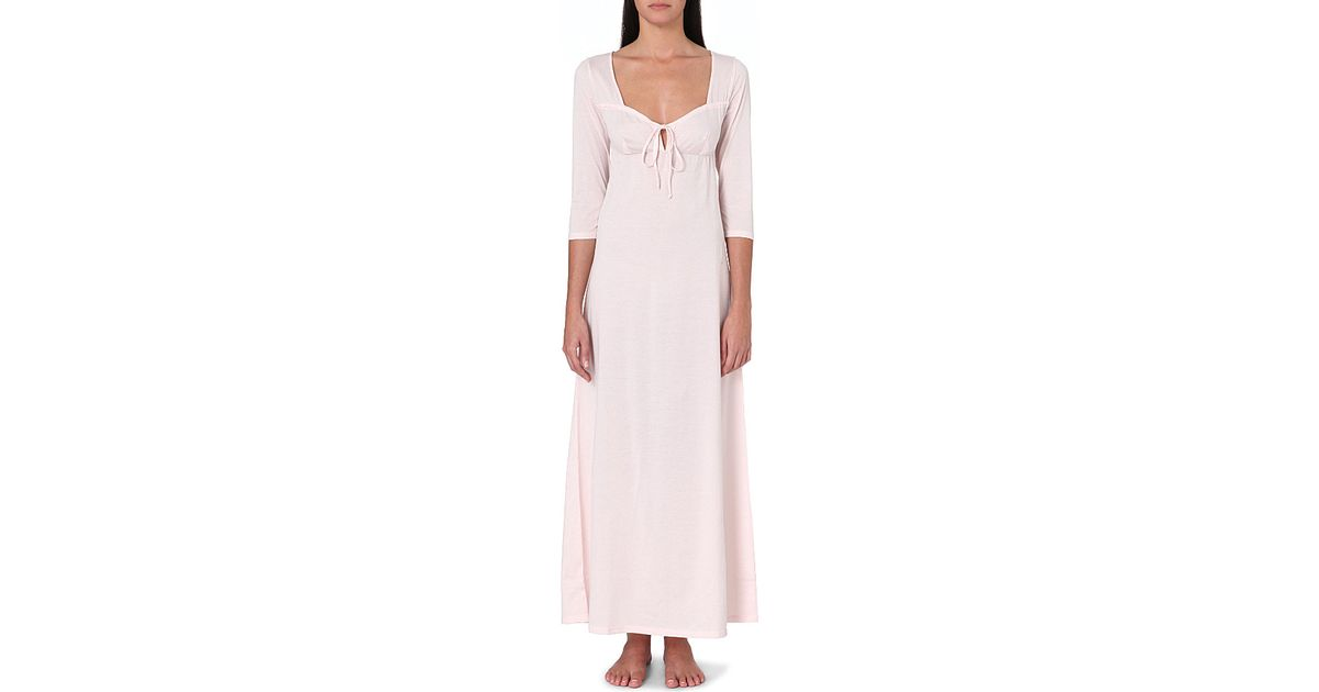 f05c1c96b9 Lyst - Bodas Long Cotton-jersey Nightdress in Pink