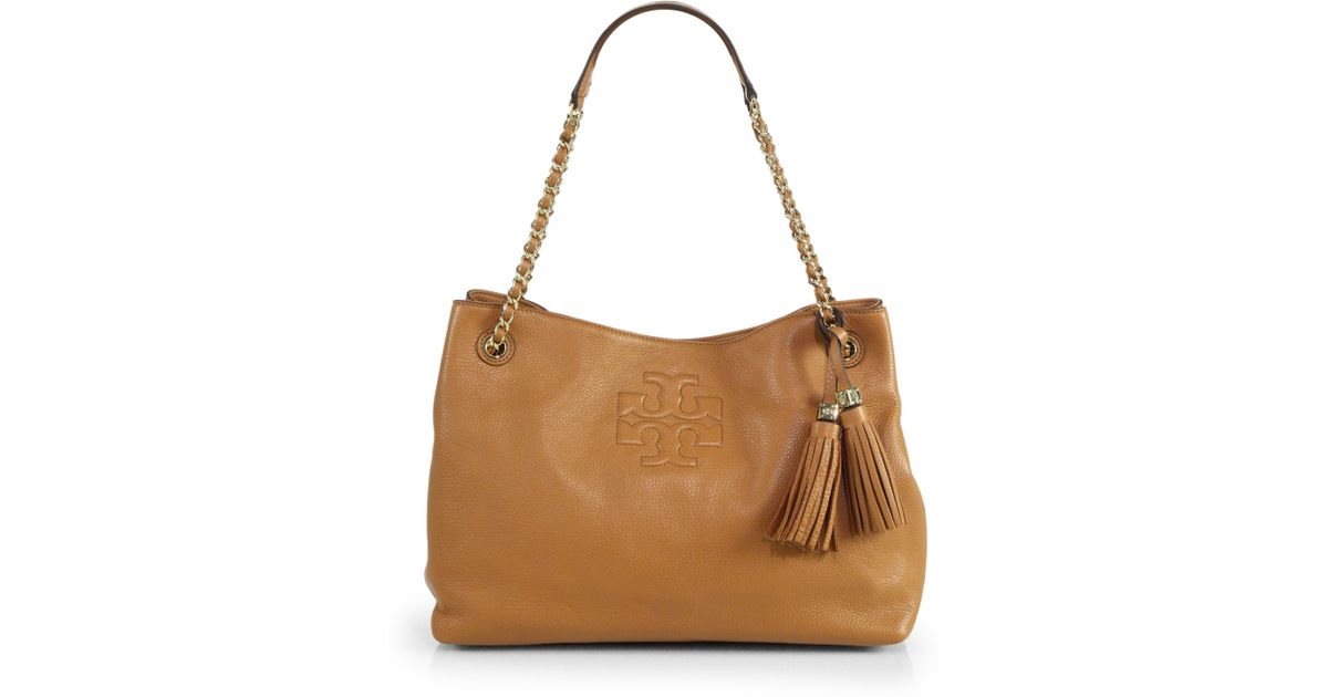 0a4562723f426 Lyst - Tory Burch Thea Chain Shoulder Slouchy Tote in Brown