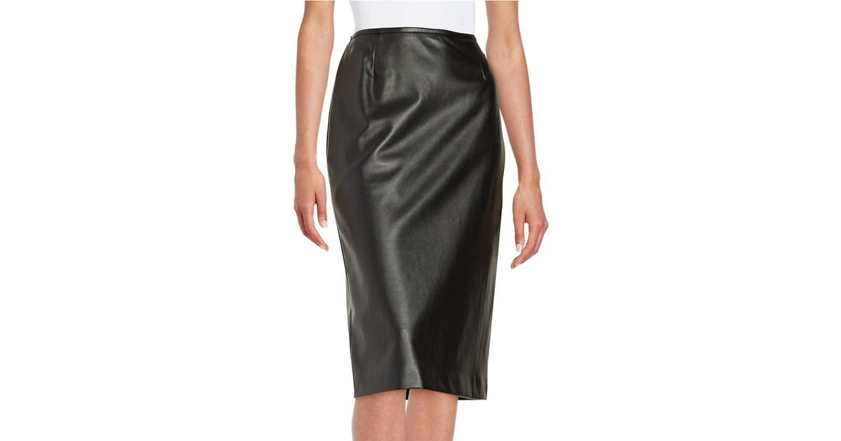 tahari faux leather pencil skirt in black lyst