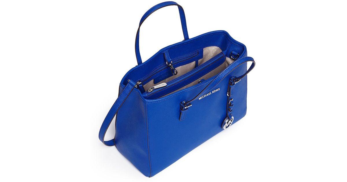2879f4cd525a17 Michael Kors 'jet Set Travel' Medium Saffiano Leather Tote in Blue - Lyst