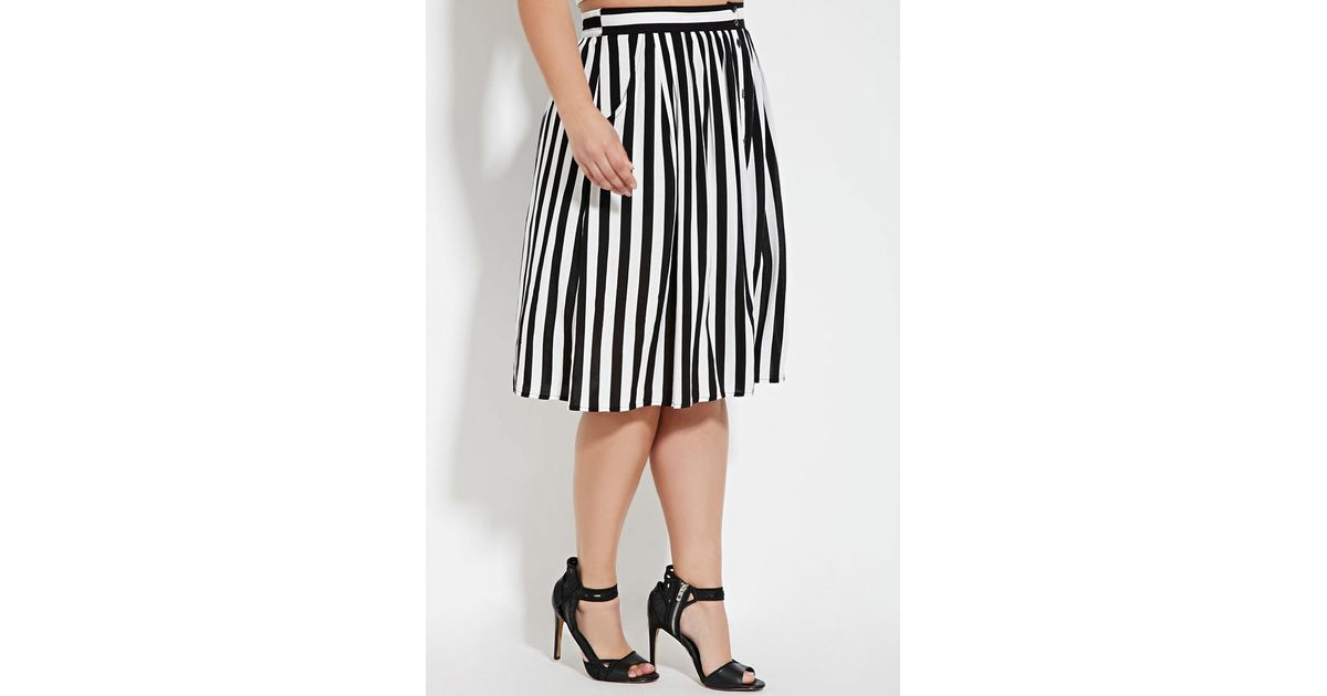 768f4b0a9b Forever 21 Plus Size Buttoned Stripe-print Skirt in Black - Lyst