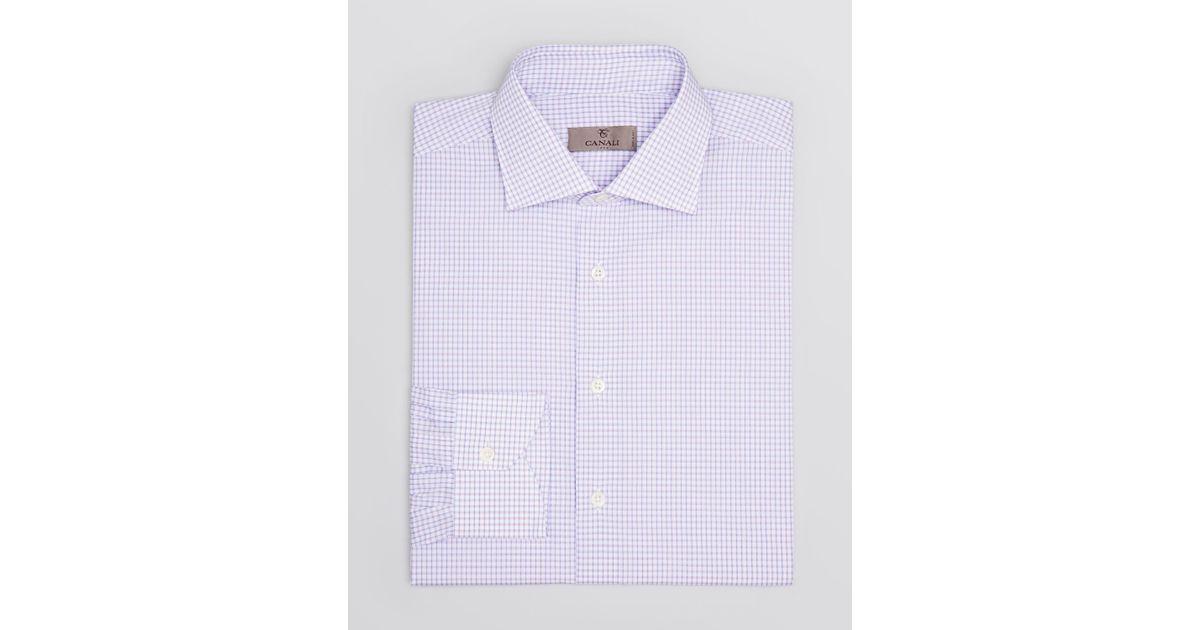 e17d97da697 Lyst - Canali Box Check Dress Shirt - Regular Fit in Purple for Men