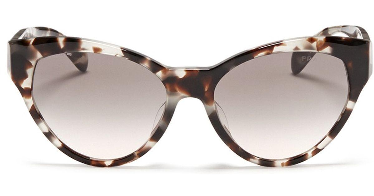9a8b2546292 Lyst - Prada Tortoiseshell Acetate Cat Eye Sunglasses in Brown