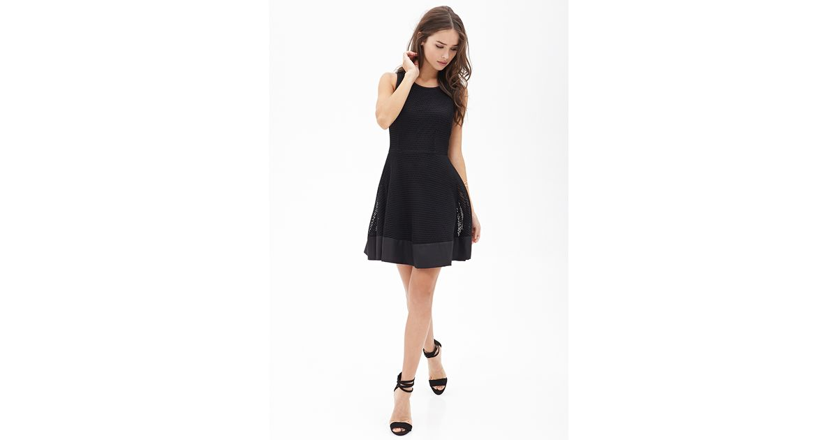 Lyst Forever 21 Mesh Fit Flare Dress In Black