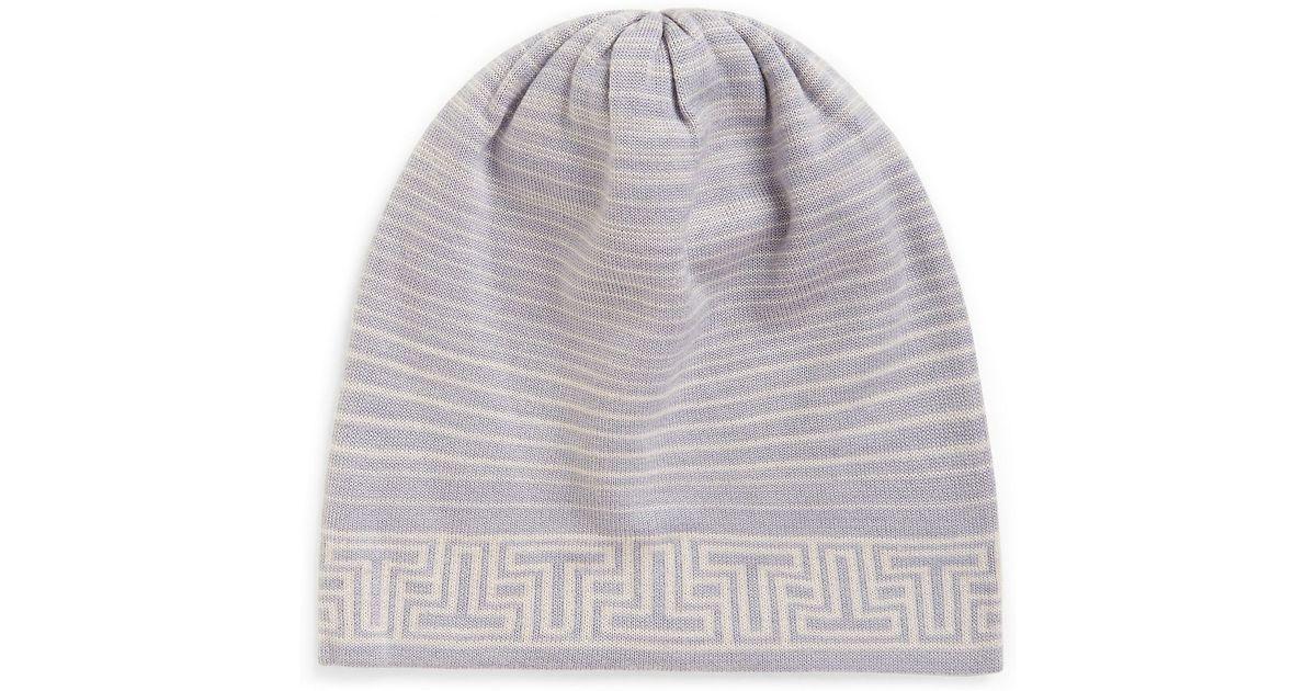 988800f1517 Lyst - Tory Burch Striped Merino Hat in Gray