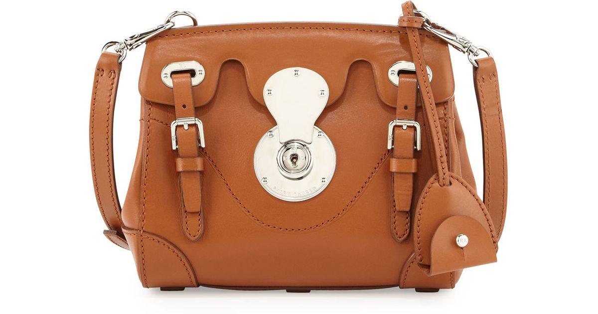 4dde565cff8d ... france lyst ralph lauren soft ricky 33 calfskin satchel bag in brown  5a5c5 bad85