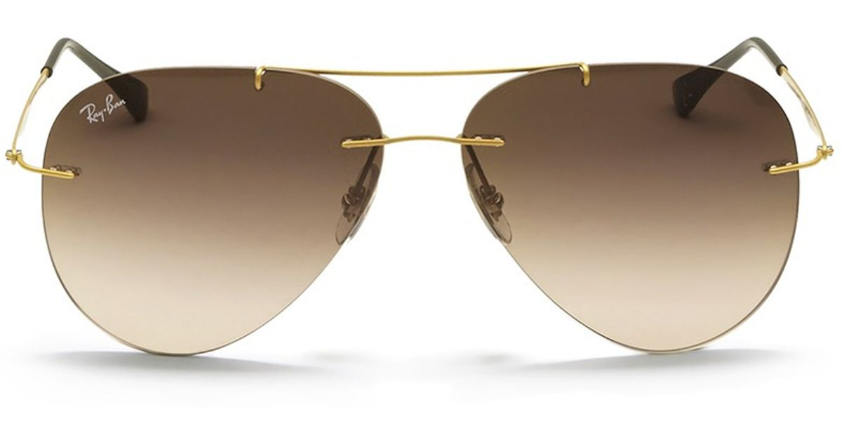 8d5ce7011f Ray-Ban  aviator Light Ray  Rimless Sunglasses in Metallic - Lyst
