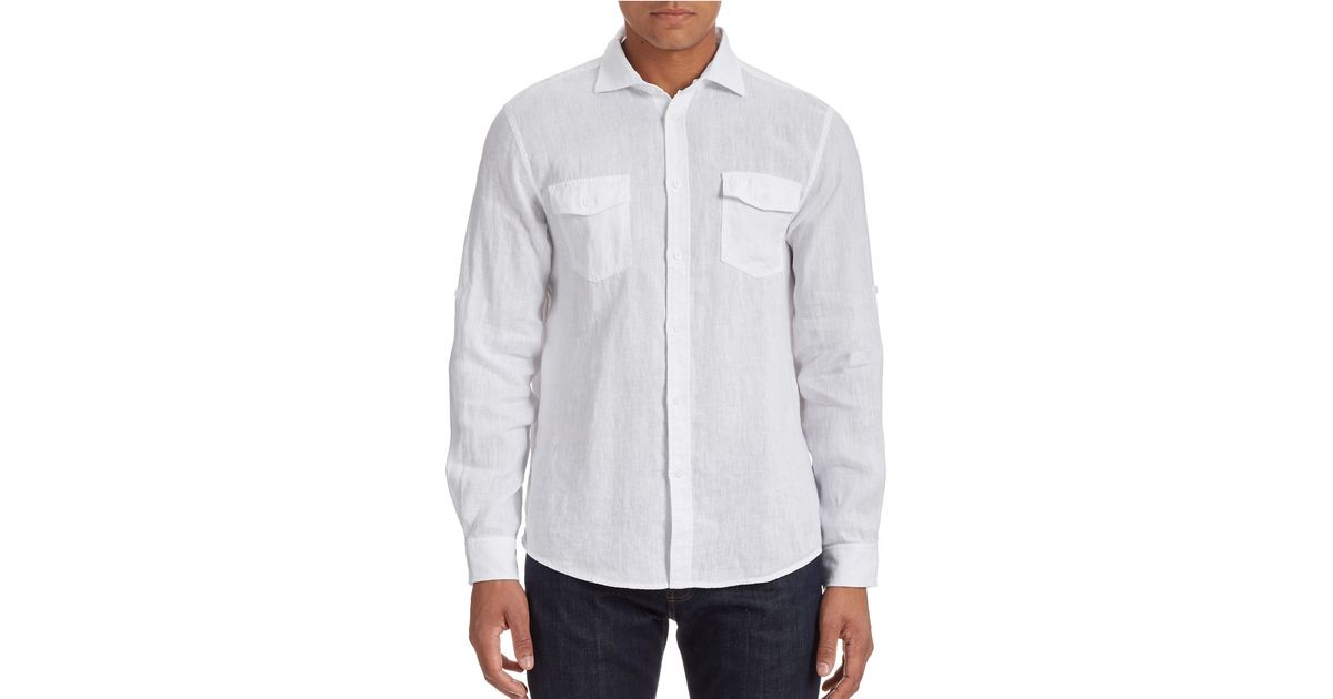Black brown linen button front shirt in white for men for White shirt brown buttons