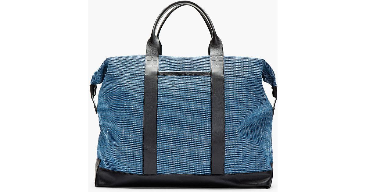 Orlebar brown Blue Leather-Trimmed Taylor Tote Bag in Blue for Men ...