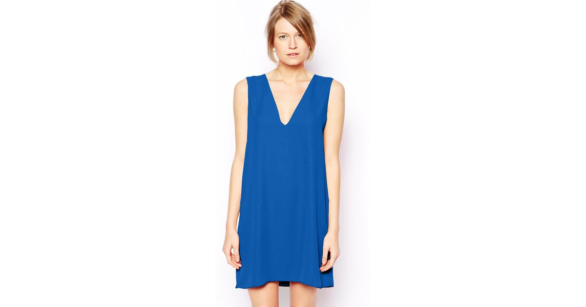 357d7a2c0ef8 Lyst - Love Deep V Neck Shift Dress in Blue
