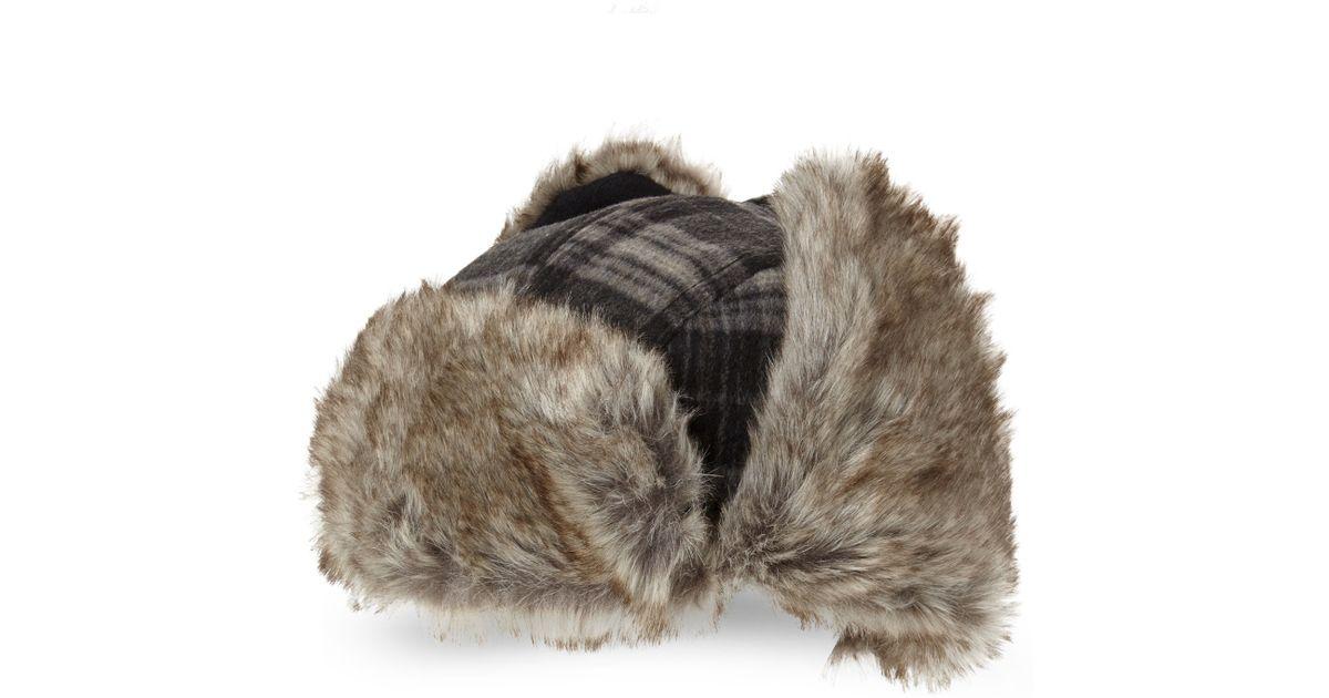 b2ffdc08ed3 Lyst - Block Headwear Faux Fur Trim Plaid Trapper Hat in Black for Men
