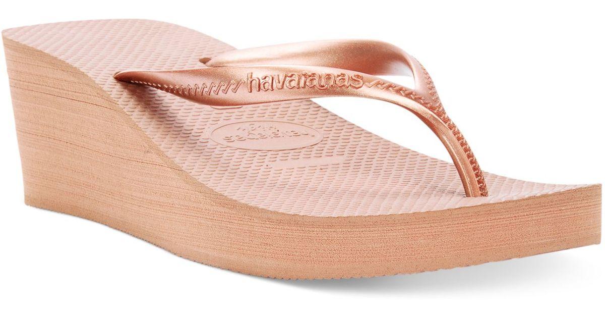 1cfa53bea1b Lyst - Havaianas Women s High Fashion Wedge Flip Flops in Pink