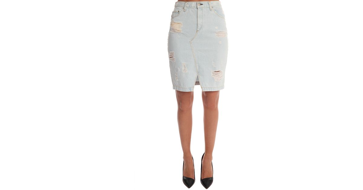 rag bone jean denim skirt shredded in blue lyst