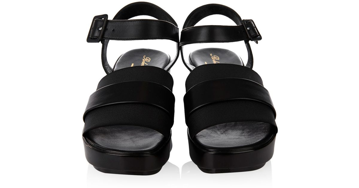 afa61948f7ee Lyst - Robert Clergerie Pod Leather And Elastic Platform Sandals in Black
