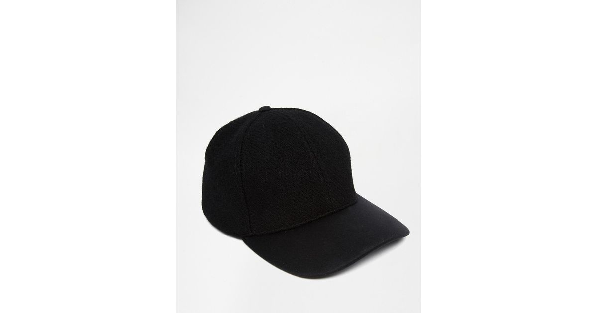 2b12fc3e6160a Lyst - ASOS Baseball Cap In Black Harris Tweed With Scuba Peak in Black for  Men