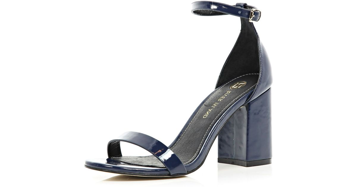 35e64c9e69 River Island Navy Blue Block Heel Barely There Sandals in Blue - Lyst