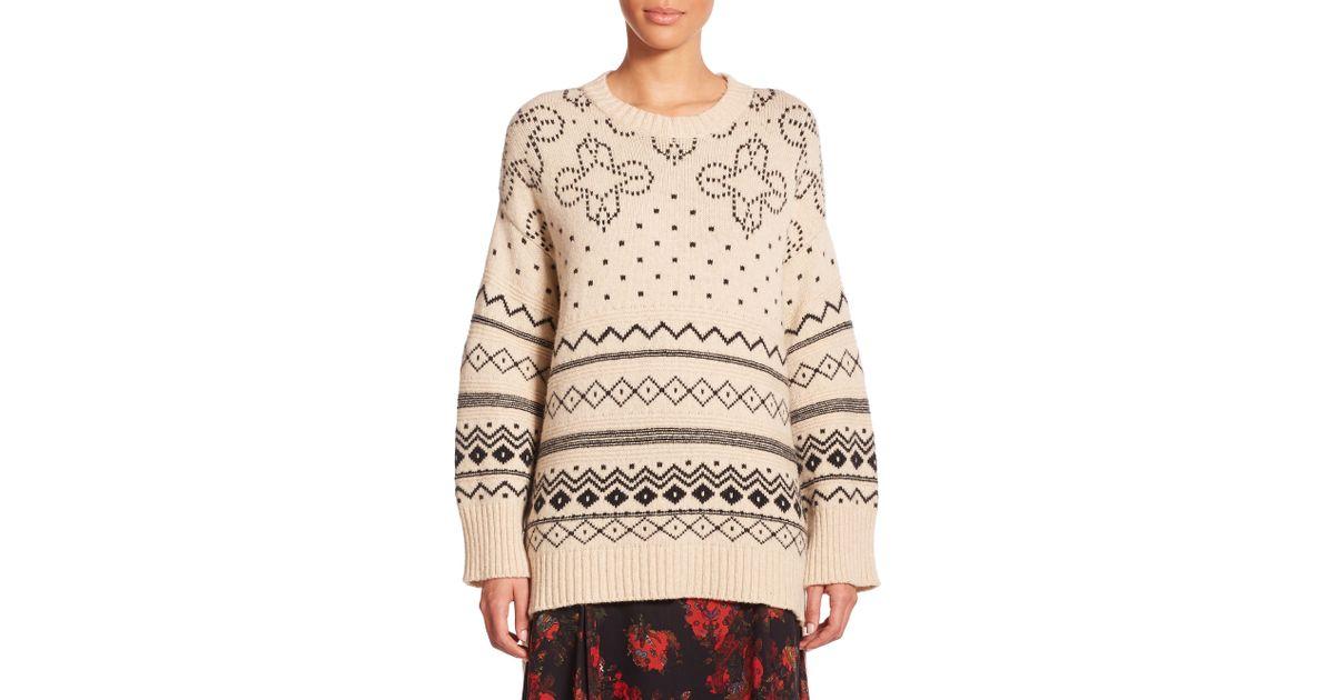 Thakoon Oversized Fairisle Sweater in Natural   Lyst