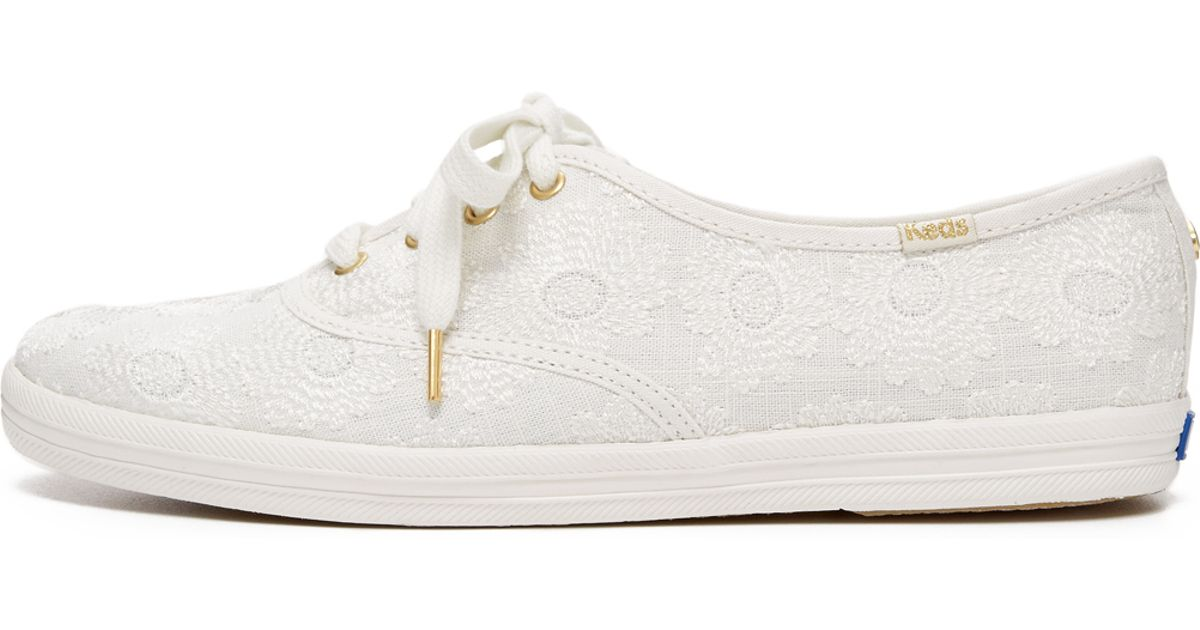 0168fa531b9e Lyst - Kate Spade Keds For Kate Spade Kick Embroidered Sneakers in White