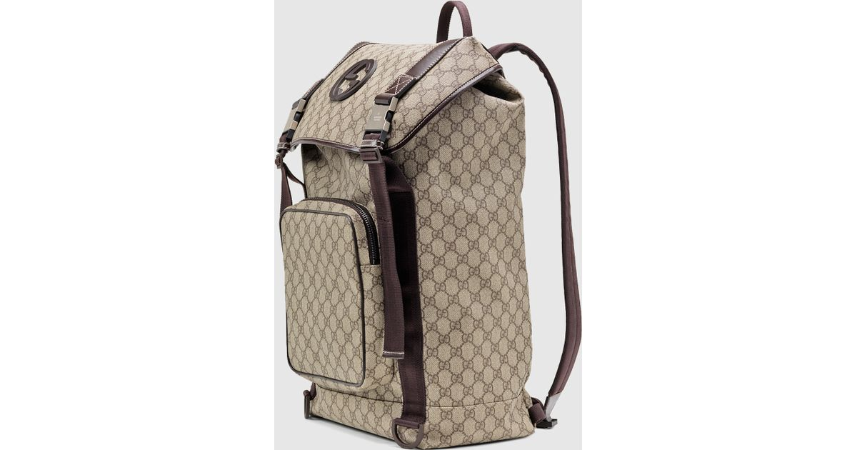 bc79050fa3a Zoom images Source · Lyst Gucci Gg Supreme Canvas Interlocking G Backpack  in Natural