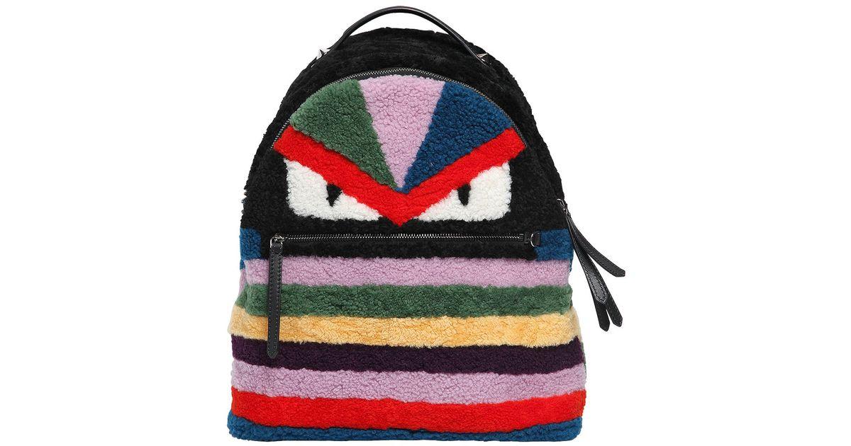 48e899b6cf12 Fendi Monster Shearling Fur Backpack in Black - Lyst
