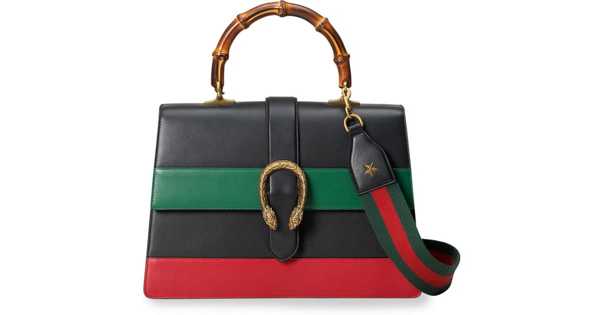 8b0f833d50d4 Gucci Dionysus Striped Bamboo Top-Handle Bag in Black - Lyst