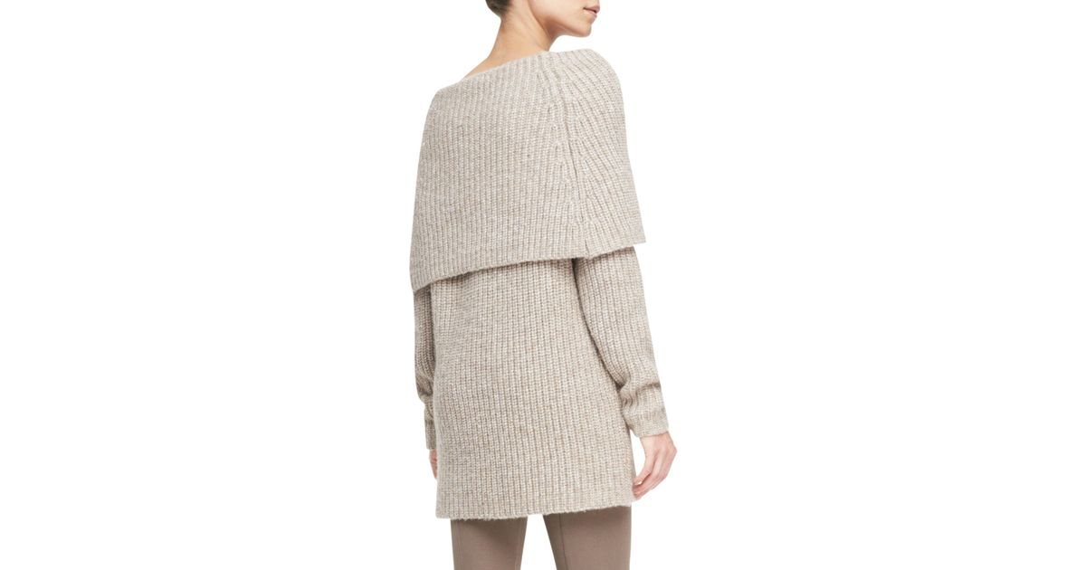 Lyst Michael Kors Off The Shoulder Cowl Neck Sweater In Natural