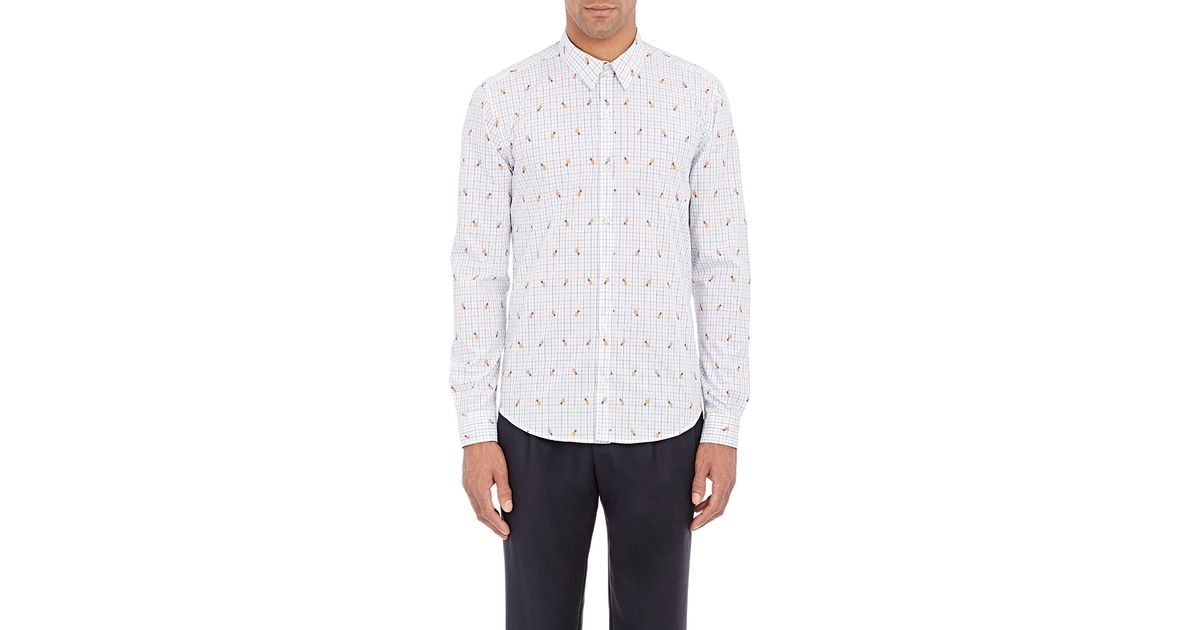 Barneys new york men s pineapple embroidered shirt in