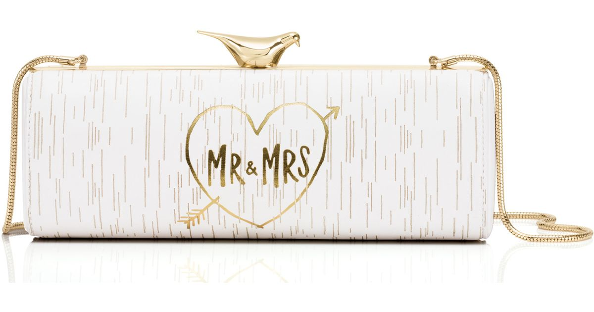 lyst kate spade new york wedding belles mr and mrs clutch in natural