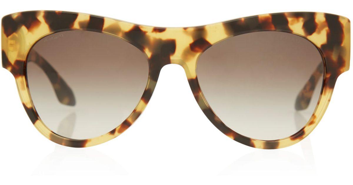 a9f572ff43a3 ... denmark lyst prada tortoiseshell pilot frame acetate sunglasses in brown  4be83 d48d0