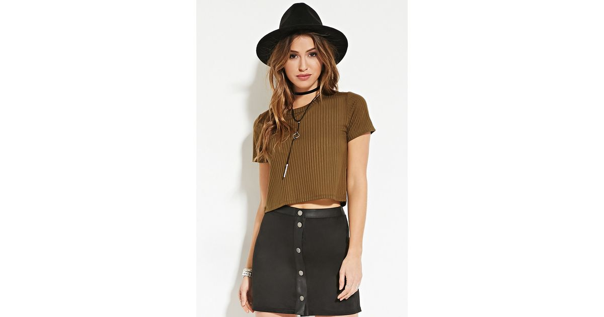 Lyst Forever 21 Ribbed Knit Crop Top In Green