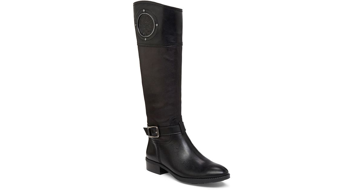 vince camuto phillie contrast leather boots in black lyst