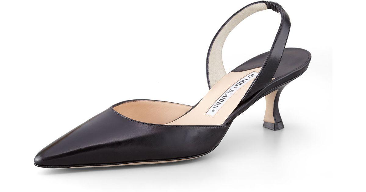 eb8b4369b8a Lyst - Manolo Blahnik Carolyne Low-heel Calfskin Halter in Black