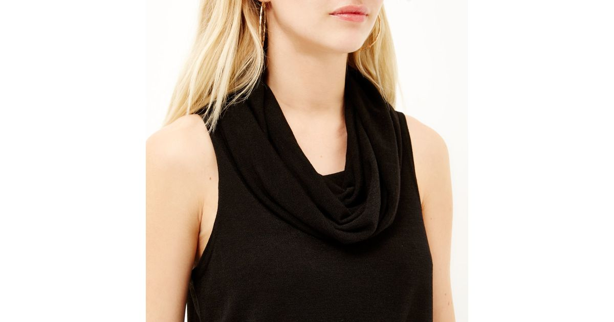 b91b7242825c4 River Island Black Knitted Cowl Neck Sleeveless Top in Black - Lyst
