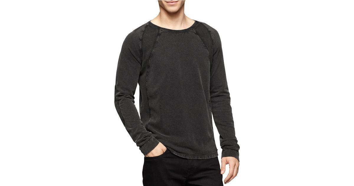 calvin klein jeans acid wash pullover in black for men lyst. Black Bedroom Furniture Sets. Home Design Ideas