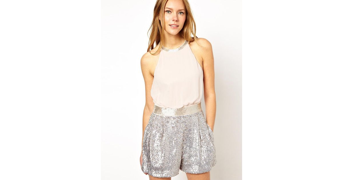 c7e82be0ef4 Lyst - French Connection Playsuit with Sequin Shorts in Pink
