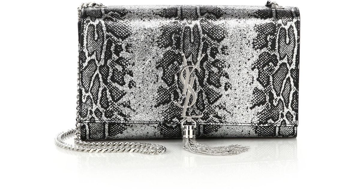Saint Laurent Classic Monogram Saint Laurent Tassel Clutch In Gold Python Embossed Metallic Leather