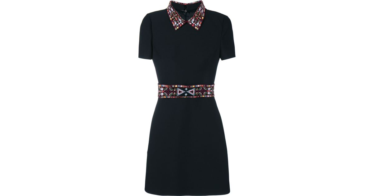 Lyst valentino dress with bead embroidery in black