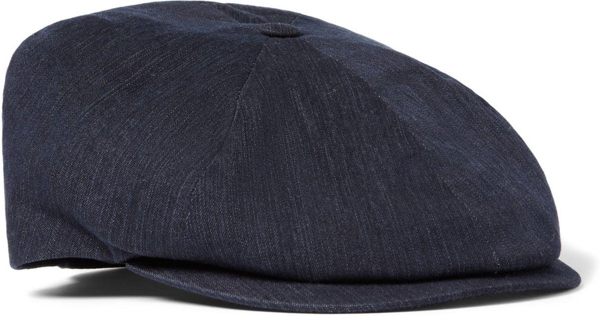 Lock   Co. Denim Flat Cap in Blue for Men - Lyst a334bae6ac3a