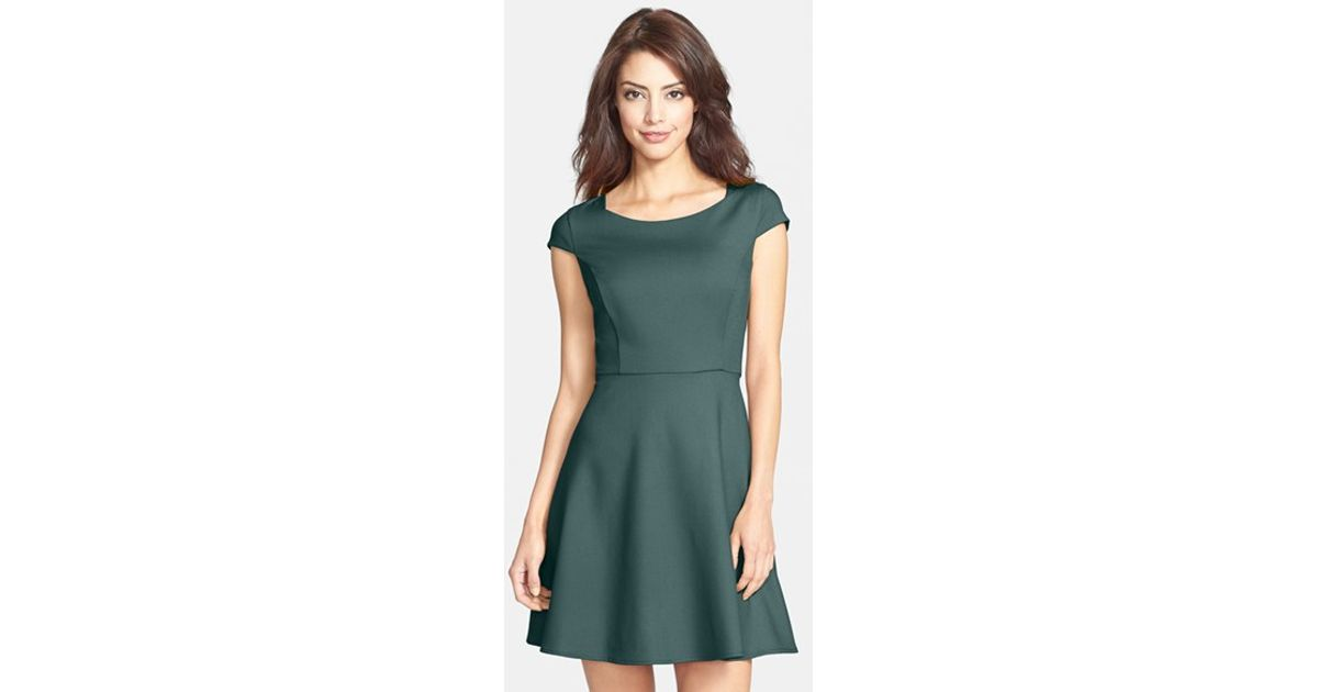 45d04f6e1ee7 Lyst - French Connection  classic Whisper Ruth  Fit   Flare Dress in Green