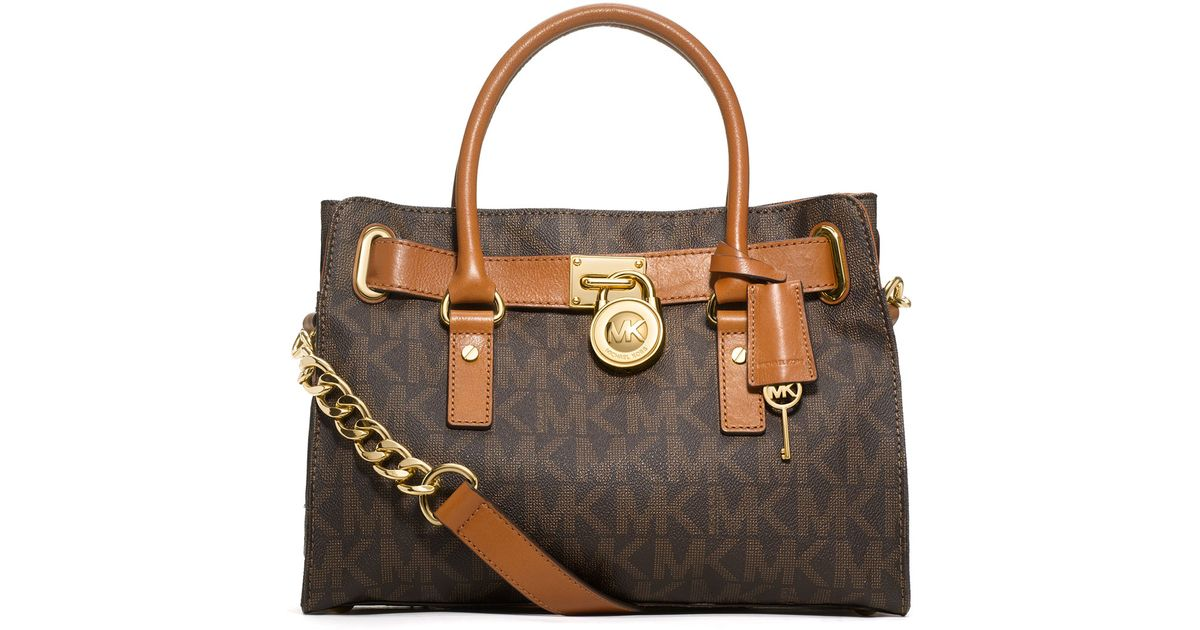 be27e59ee799 ... new zealand lyst michael michael kors hamilton mk logo satchel bag in  brown 77203 e16d4