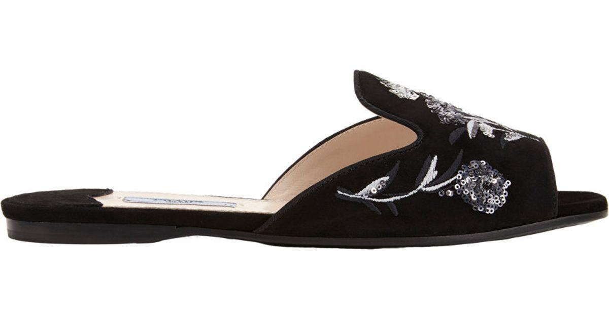Prada Embroidered Slide Sandals cheap sale websites DHKu9Q2gU