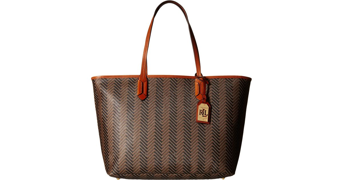 Lyst - Lauren by Ralph Lauren Boswell Classic Tote in Brown eb179701a236d