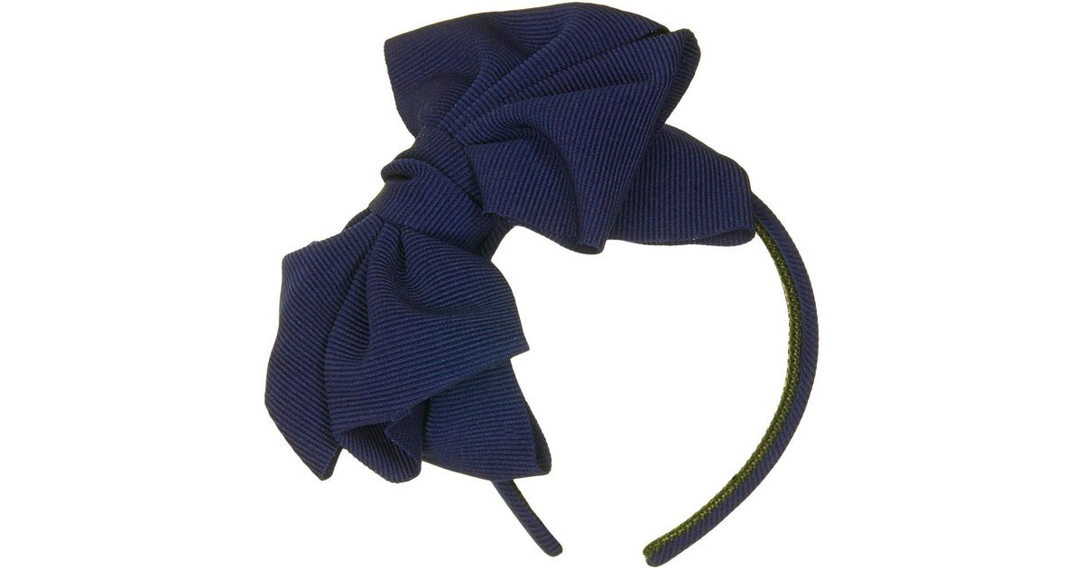 Lyst - TOPSHOP Oversize Floppy Bow Headband in Blue 0b0ac6e63a9