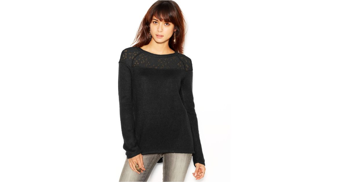 Sanctuary Long-Sleeve Lace-Panel Sweater in Black | Lyst